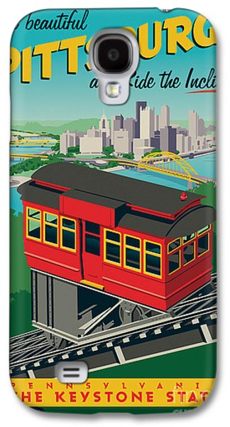 Pittsburgh Galaxy S4 Cases - Vintage Style Pittsburgh Incline Travel Poster Galaxy S4 Case by Jim Zahniser