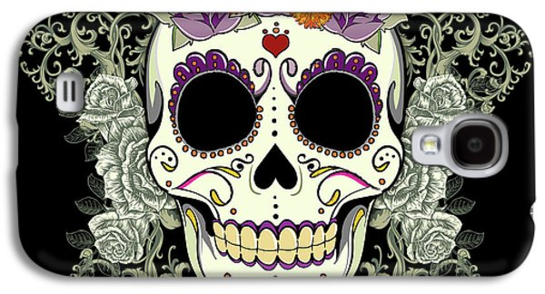 Halloween Digital Art Galaxy S4 Cases - Vintage Sugar Skull and Roses No. 2 Galaxy S4 Case by Tammy Wetzel
