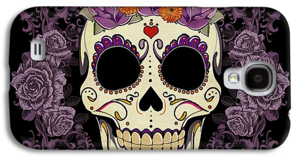 Tattoo Galaxy S4 Cases - Vintage Sugar Skull and Roses Galaxy S4 Case by Tammy Wetzel
