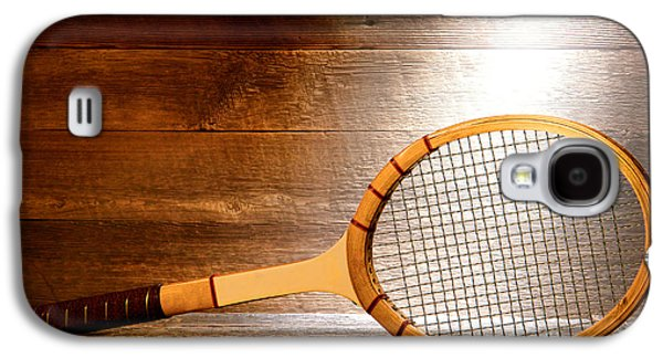 Tennis Galaxy S4 Cases - Vintage Tennis Racket Galaxy S4 Case by Olivier Le Queinec