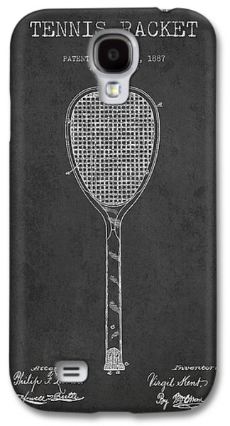 Tennis Galaxy S4 Cases - Vintage Tennnis Racket Patent Drawing from 1887-Dark Galaxy S4 Case by Aged Pixel