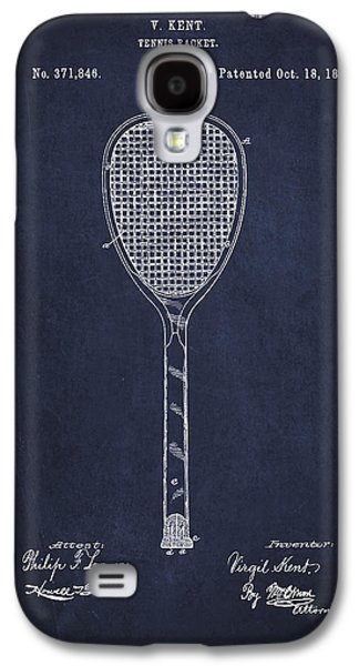 Tennis Galaxy S4 Cases - Vintage Tennnis Racket Patent Drawing from 1887-Navy Blue Galaxy S4 Case by Aged Pixel