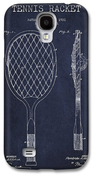 Tennis Galaxy S4 Cases - Vintage Tennnis Racket Patent Drawing from 1921 - Navy Blue Galaxy S4 Case by Aged Pixel
