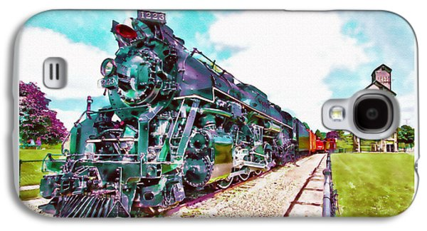 """""""square """" Mixed Media Galaxy S4 Cases - Vintage Train watercolor Galaxy S4 Case by Marian Voicu"""