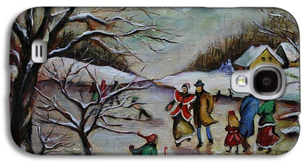 New England Snow Scene Paintings Galaxy S4 Cases - Vintage Winter Scene/Skating Away Galaxy S4 Case by Melinda Saminski