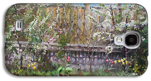 Fence Paintings Galaxy S4 Cases - Violas Apple and Cherry Trees Galaxy S4 Case by Ylli Haruni