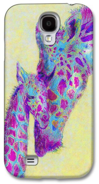 Giraffe Digital Galaxy S4 Cases - Violet Giraffes Galaxy S4 Case by Jane Schnetlage