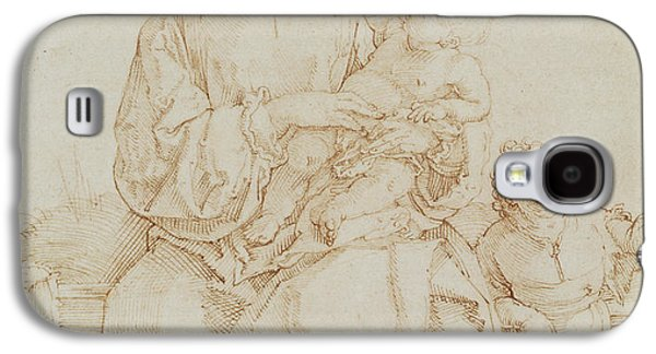 Religious Drawings Galaxy S4 Cases - Virgin and Child with infant St John Galaxy S4 Case by Albrecht Durer or Duerer