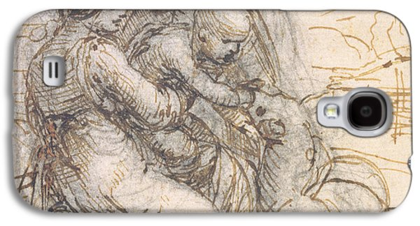 Saints Drawings Galaxy S4 Cases - Virgin and Child with St. Anne Galaxy S4 Case by Leonardo da Vinci