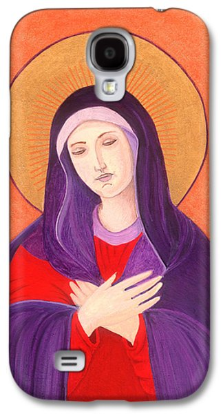 Greek Icon Paintings Galaxy S4 Cases - Virgin Mary 4 Galaxy S4 Case by Jacqueline Savidge
