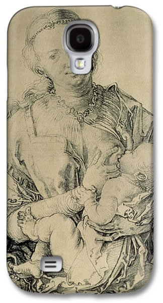 Virgin Mary Suckling The Christ Child, 1512 Charcoal Drawing Galaxy S4 Case by Albrecht Durer or Duerer