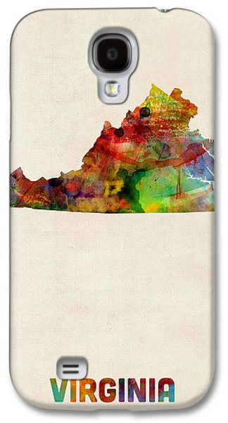 Cartography Digital Art Galaxy S4 Cases - Virginia Watercolor Map Galaxy S4 Case by Michael Tompsett