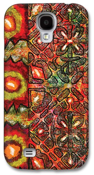 Indian Ink Mixed Media Galaxy S4 Cases - Vitrales I from the Frank Lloyd Wright A Mano Series Galaxy S4 Case by Chary Castro-Marin
