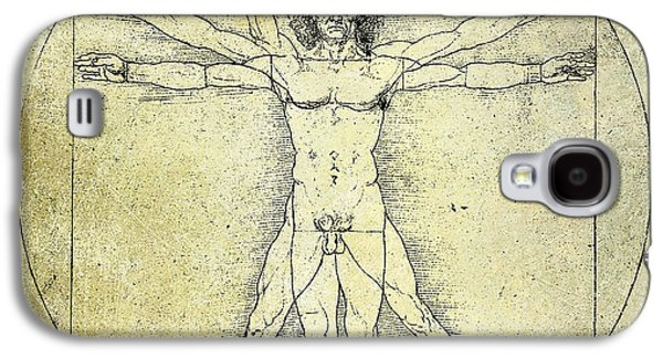 Rocks Drawings Galaxy S4 Cases - Vitruvian Guitar Man Galaxy S4 Case by Jon Neidert