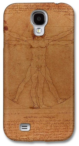 Parchment Galaxy S4 Cases - Vitruvian Man by Leonardo Da Vinci Sketch on Worn Parchment Galaxy S4 Case by Design Turnpike