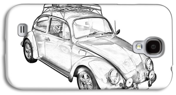 Punch Digital Art Galaxy S4 Cases - Volkswagen beetle Punch Buggy Illustration Galaxy S4 Case by Keith Webber Jr