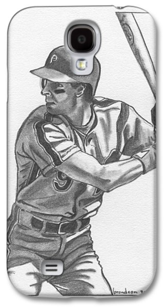 Phillies Drawings Galaxy S4 Cases - Von Hayes Galaxy S4 Case by Brian Condron