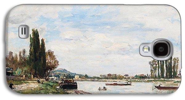River View Paintings Galaxy S4 Cases - Vue de Meudon du Pont de Sevres Galaxy S4 Case by Johan-Barthold Jongkind
