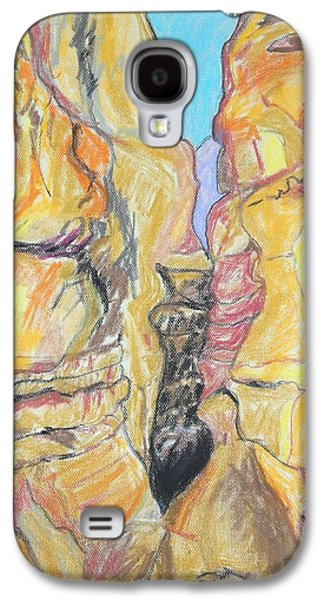 Landscape Acrylic Prints Drawings Galaxy S4 Cases - Wadi in the Judean Desert Galaxy S4 Case by Esther Newman-Cohen