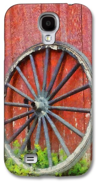Wooden Wagons Galaxy S4 Cases - Wagon Wheel On Red Barn Galaxy S4 Case by Dan Sproul
