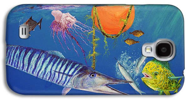 Triggerfish Paintings Galaxy S4 Cases - Wahoo Dolphin Painting Galaxy S4 Case by Ken Figurski