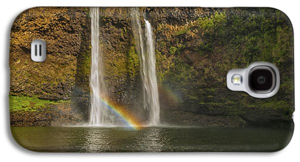 Landscapes Photographs Galaxy S4 Cases - Wailua Falls Rainbow Galaxy S4 Case by Brian Harig
