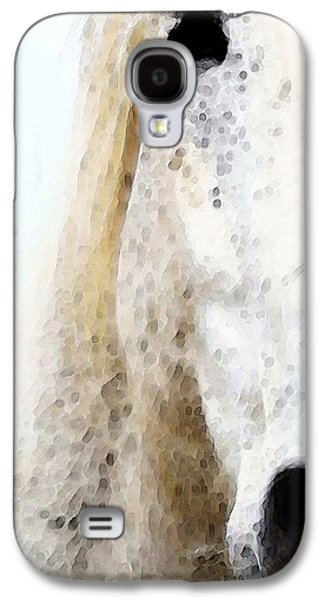 Painted Mixed Media Galaxy S4 Cases - Waiting 2 - Horse Art By Sharon Cummings Galaxy S4 Case by Sharon Cummings
