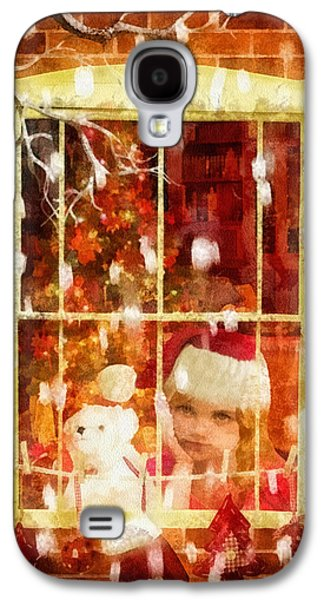 Christmas Eve Paintings Galaxy S4 Cases - Waiting for Santa Galaxy S4 Case by Mo T