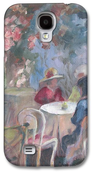 Empty Chairs Paintings Galaxy S4 Cases - Waiting for Tea Galaxy S4 Case by Susan Richardson