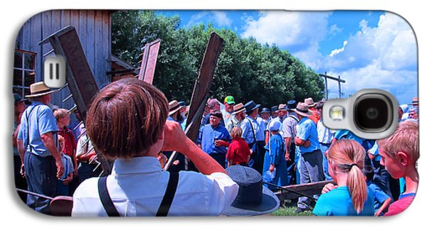 Amish Community Photographs Galaxy S4 Cases - Waiting for the Next Demonstration Galaxy S4 Case by Tina M Wenger