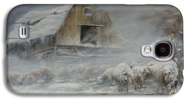 Old Barns Paintings Galaxy S4 Cases - Waiting out the Storm Galaxy S4 Case by Mia DeLode