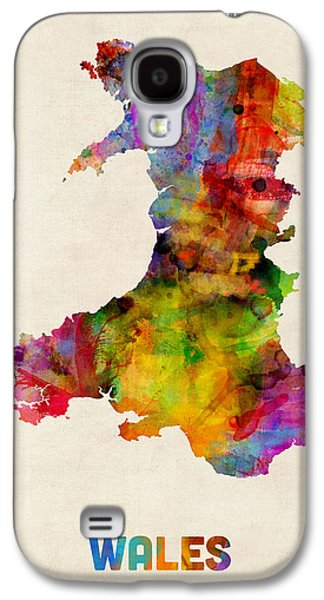 Maps - Galaxy S4 Cases - Wales Watercolor Map Galaxy S4 Case by Michael Tompsett