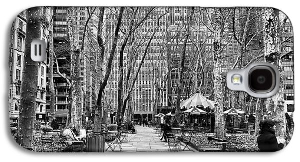 Bryant Park Galaxy S4 Cases - Walk Through Bryant Park mono Galaxy S4 Case by John Rizzuto