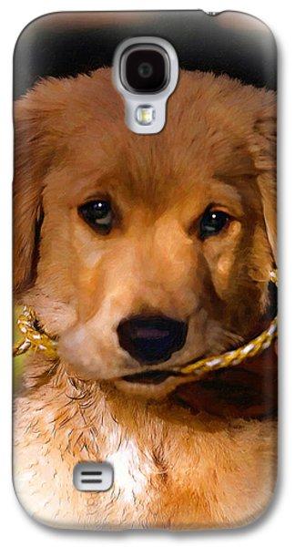 Puppy Digital Art Galaxy S4 Cases - Walkies...Pleeease oil Galaxy S4 Case by Steve Harrington