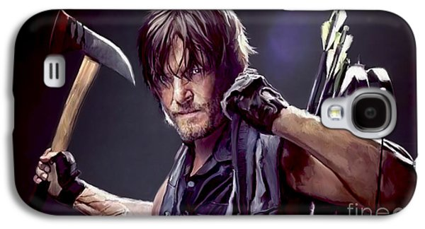 Digital Paintings Galaxy S4 Cases - Walking Dead - Daryl Galaxy S4 Case by Paul Tagliamonte
