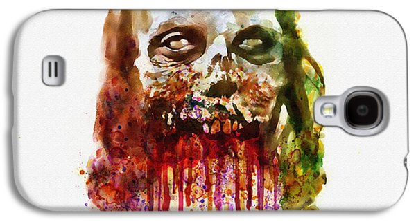 Walking Mixed Media Galaxy S4 Cases - Walking Dead Zombie watercolor Galaxy S4 Case by Marian Voicu