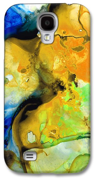Red Abstract Paintings Galaxy S4 Cases - Walking On Sunshine - Abstract Painting By Sharon Cummings Galaxy S4 Case by Sharon Cummings