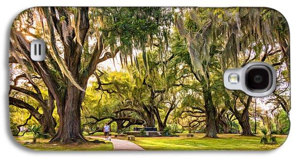 Dog Walking Digital Galaxy S4 Cases - Walking the Dog in City Park - Paint Galaxy S4 Case by Steve Harrington