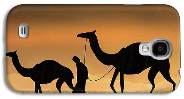 Storm Prints Mixed Media Galaxy S4 Cases - Walking The Sahara Galaxy S4 Case by Bedros Awak