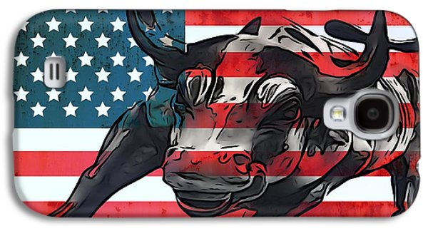 Financial Mixed Media Galaxy S4 Cases - Wall Street Bull American Flag Galaxy S4 Case by Dan Sproul