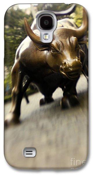 Business Galaxy S4 Cases - Wall Street Bull Galaxy S4 Case by Tony Cordoza
