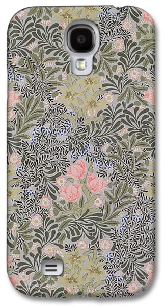 Floral Tapestries - Textiles Galaxy S4 Cases - Wallpaper design with Tulips Daisies and Honeysuckle  Galaxy S4 Case by William Morris