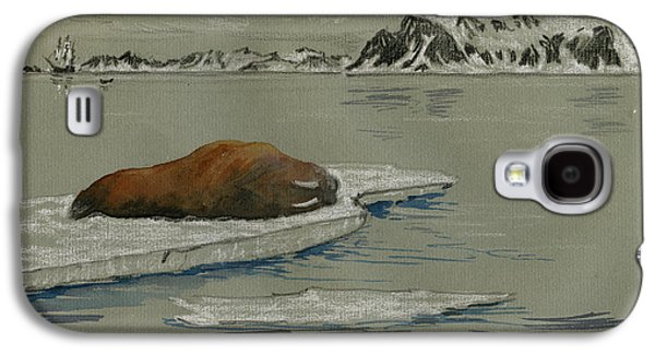 Frigates Paintings Galaxy S4 Cases - Walrus on the iceberg Galaxy S4 Case by Juan  Bosco