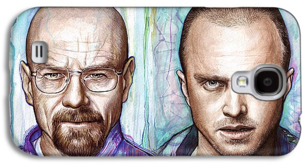 Celebrities Mixed Media Galaxy S4 Cases - Walter and Jesse - Breaking Bad Galaxy S4 Case by Olga Shvartsur