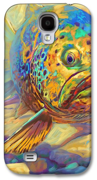 Sportfishing Galaxy S4 Cases - Walters Pool - Brown Trout Painting Galaxy S4 Case by Mike Savlen