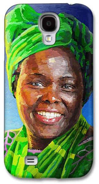 Wildlife Celebration Paintings Galaxy S4 Cases - Wangari Maathai Galaxy S4 Case by Anthony Mwangi