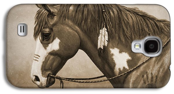Wild Horse Paintings Galaxy S4 Cases - War Horse Old Photo FX Galaxy S4 Case by Crista Forest