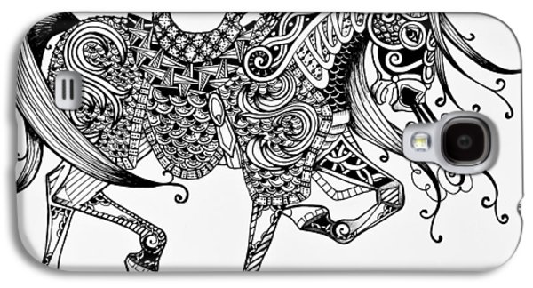 Horse Images Galaxy S4 Cases - War Horse - Zentangle Galaxy S4 Case by Jani Freimann