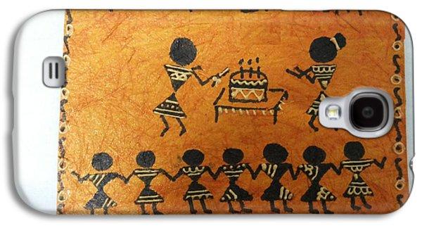 Etc. Paintings Galaxy S4 Cases - Warli Birthday Galaxy S4 Case by Deepika B