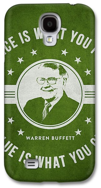 Finance Galaxy S4 Cases - Warren Buffet - Green Galaxy S4 Case by Aged Pixel